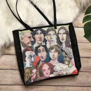Famous Authors Writer Reader Black Tote Bag